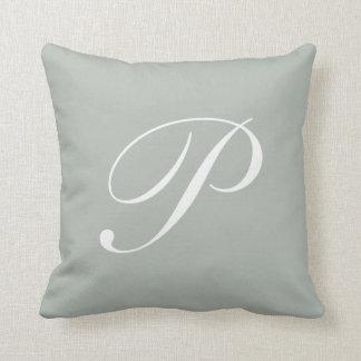 Letter P Silver Gray Monogram Pillow Throw Cushion