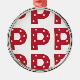Letter P - White Stars on Dark Red Christmas Ornament