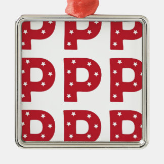 Letter P - White Stars on Dark Red Christmas Ornament