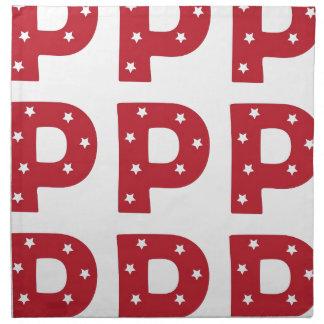 Letter P - White Stars on Dark Red Napkins