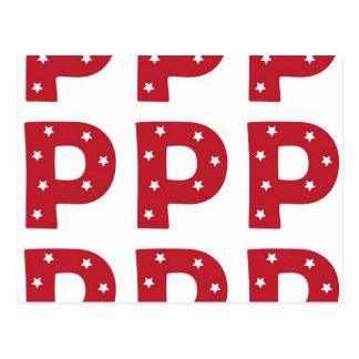 Letter P - White Stars on Dark Red Postcard