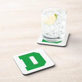 Letter Pride D Green.png Beverage Coaster