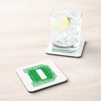 LETTER PRIDE D GREEN VINTAGE png Drink Coaster
