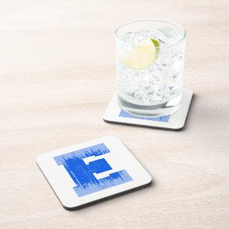 LETTER PRIDE E BLUE VINTAGE png Coaster