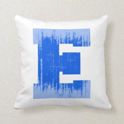 LETTER PRIDE E BLUE VINTAGE.png Pillows