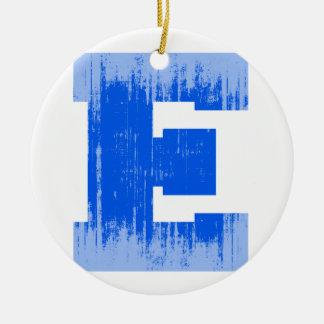 LETTER PRIDE E BLUE VINTAGE.png Christmas Tree Ornaments
