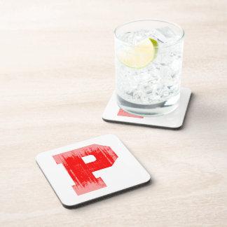 LETTER PRIDE P RED VINTAGE png Coasters