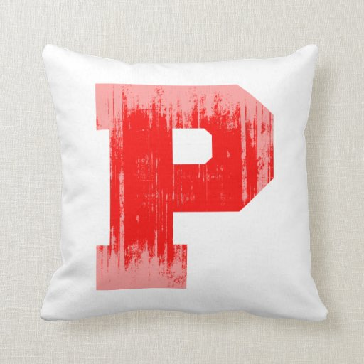 LETTER PRIDE P RED VINTAGE.png Throw Pillows