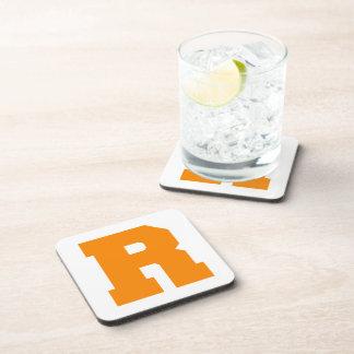 Letter Pride R Orange.png Drink Coasters