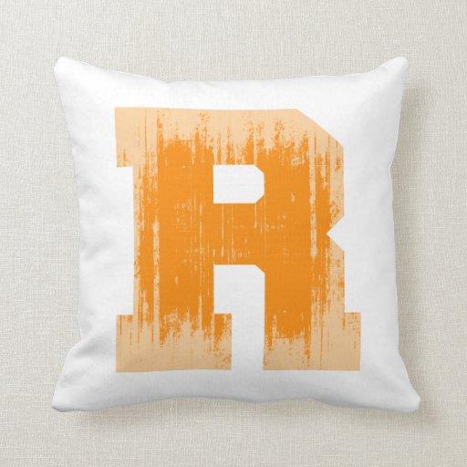 LETTER PRIDE R ORANGE VINTAGE.png Pillows