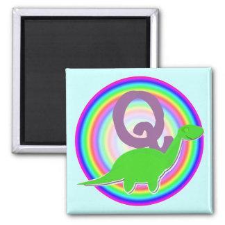 Letter Q Green Dinosaur Diplodocus Fridge Magnet