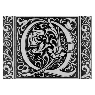 Letter Q Medieval Monogram Vintage Initial Cutting Board