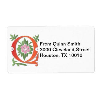 Letter Q Monogram Fleur de lis Shipping Label