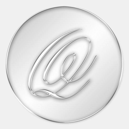 Letter Q script initial faux silver monogram Round Sticker