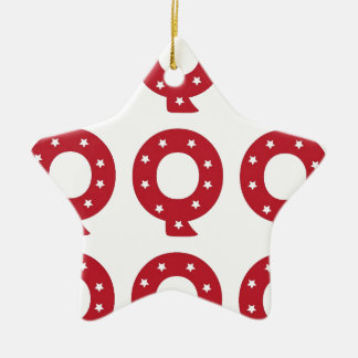 Letter Q - White Stars on Dark Red Ceramic Star Decoration