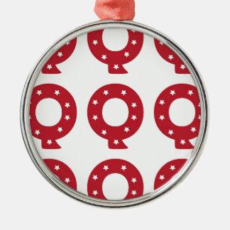 Letter Q - White Stars on Dark Red Christmas Ornament