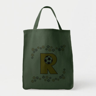 Letter R in Soccer Gold Monogram Tote Tote Bags