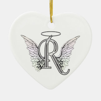 Letter R Initial Monogram with Angel Wings & Halo Christmas Ornament