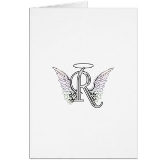 Letter R Initial Monogram with Angel Wings & Halo Greeting Card
