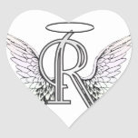 Letter R Initial Monogram with Angel Wings & Halo Heart Sticker