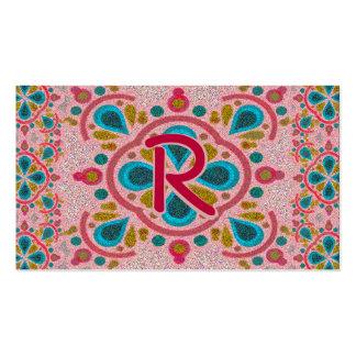Letter R Mandala Monogram Pack Of Standard Business Cards