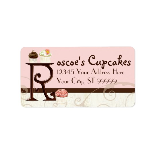 Letter R Monogram Dessert Bakery Address Labels