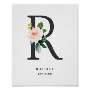 Letter R Monogram Watercolor Peach Florals Nursery Poster