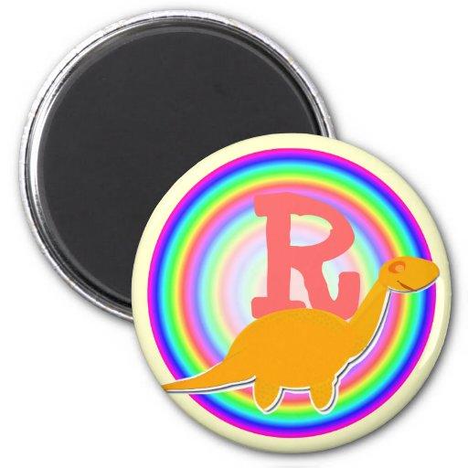 Letter R Orange Dinosaur Diplodocus Fridge Magnet