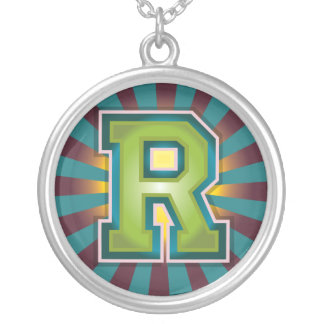 Letter 'R' Round Pendant Necklace