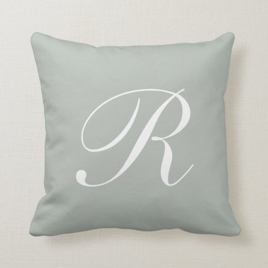 Letter R Silver Grey Monogram Pillow