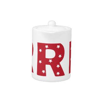Letter R - White Stars on Dark Red