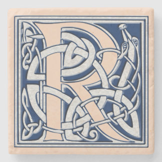 Letter R with Celtic Dragons Stone Beverage Coaster