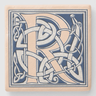 Letter R with Celtic Dragons Stone Coaster