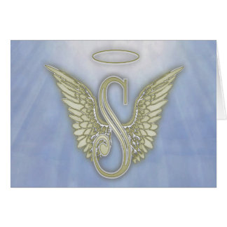 Letter S Angel Monogram Card