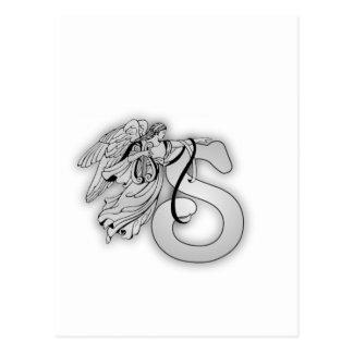 Letter S Angel Monogram Initial Postcard