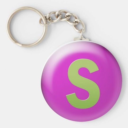 Letter S Basic Round Button Key Ring
