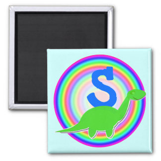 Letter S Green Dinosaur Diplodocus Fridge Magnet