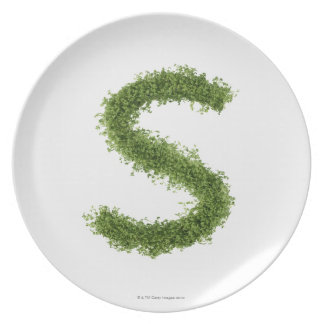 Letter 'S' in cress on white background, Plate