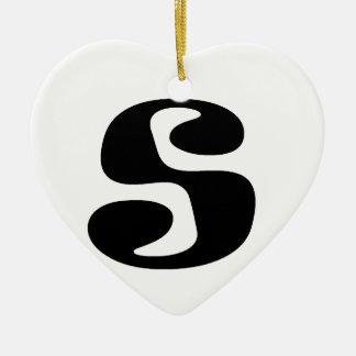 Letter S_large Ceramic Heart Decoration