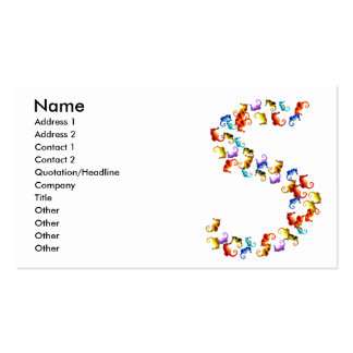 Letter S made out of colorful seahorse graphics Business Card Template