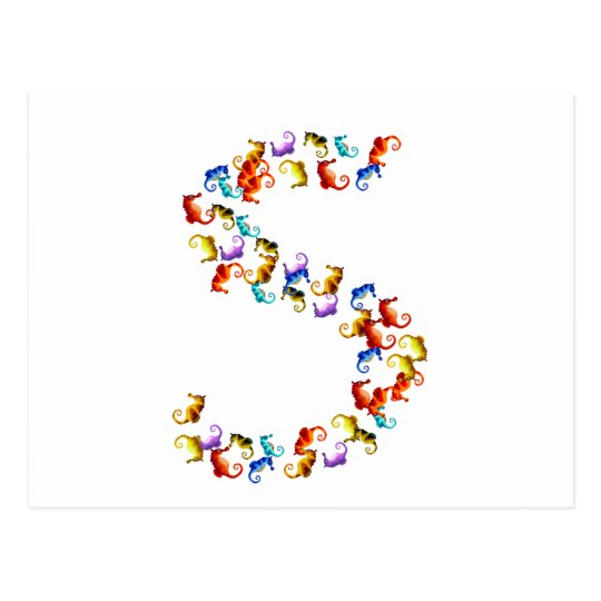 Letter S made out of colourful seahorse graphics Postcard