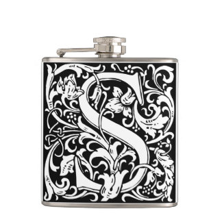 Letter S Medieval Monogram Vintage Initial Flasks