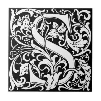 Letter S Medieval Monogram Vintage Initial Tile