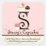 Letter S Monogram Cupcake Logo Business Stickers
