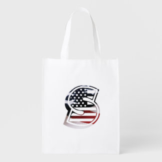 Letter S Monogram Initial Patriotic USA Flag Reusable Grocery Bag