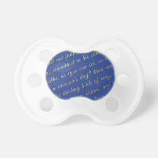Letter Script Faux Gold Typography Poetry Blue Baby Pacifiers