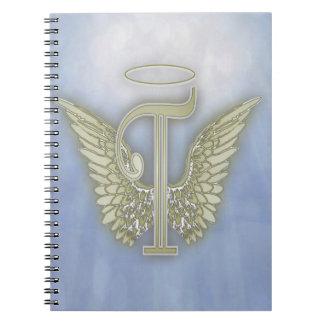Letter T Angel Monogram Spiral Notebook