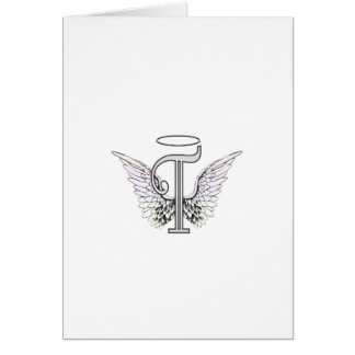 Letter T Initial Monogram with Angel Wings & Halo Card