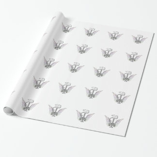 Letter T Initial Monogram with Angel Wings & Halo Wrapping Paper