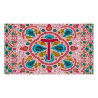 Letter T Mandala Monogram Pack Of Standard Business Cards